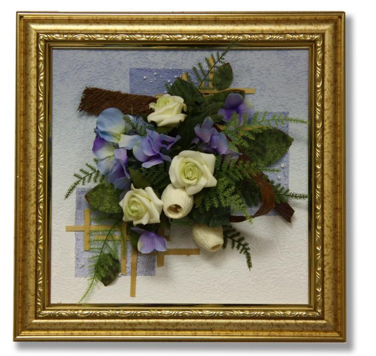 Картина из искусственных цветов своими руками в рамке 48